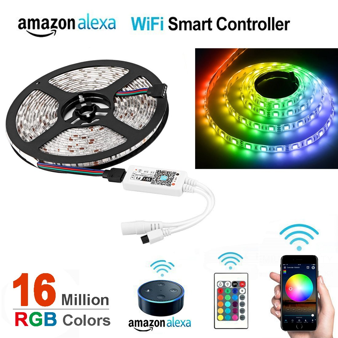 Opard Wifi Led Light Strip Music Sync Remote Controlled By