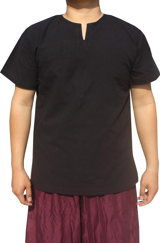 RaanPahMuang Brand Soft Summer Cotton Open Slit Collar Short Sleeve Shirt