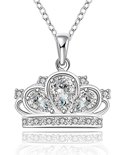 amazon com godyce crown princess pendant necklace plated sterling