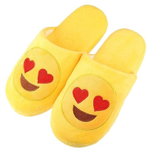 Unisex Warm Winter Slippers Emoji Cute Cartoon Soft Plush Fluffy Stuffed  Indoor Household Home Bedroom Shoes