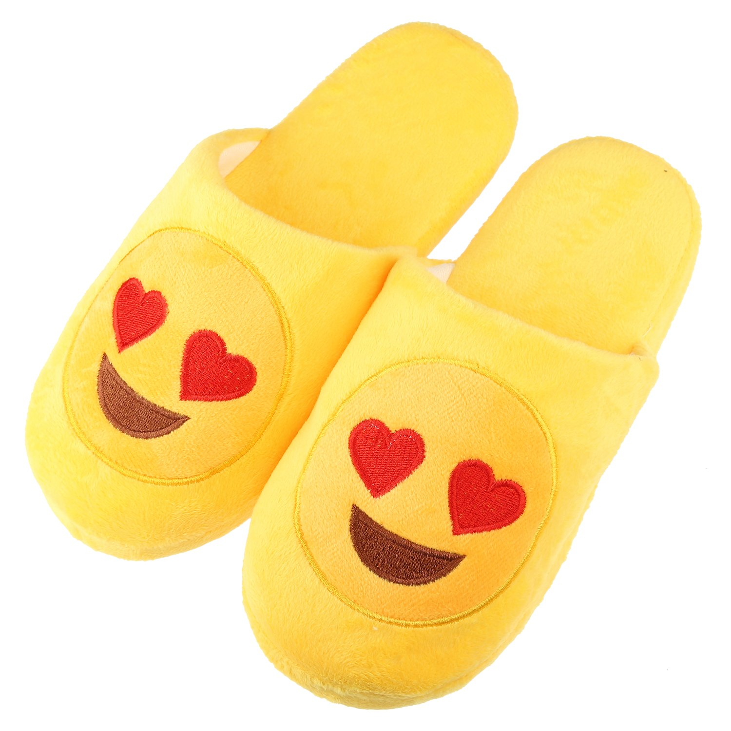 Emoji Slippers for Women Girls with Memory Foam Cute Cartoon Cozy Indoor Winter Shoes Soft Plush Mules House Home Hotel Bedroom Casual Non-Slip Slip-on Footwear (Label Size M= US7-US8.5, Love Eyes)