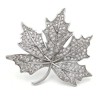 22f87c391 DREAMLANDSALES Queen Jewelry Micro Pave Canadian Maple Leaf Brooches Pins  Silver Tone: Amazon.ca: Jewelry