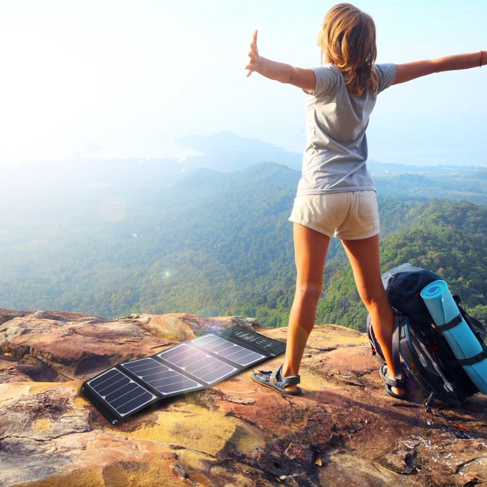 Solar Charger RAVPower 24W Solar Panel with Triple USB Ports Waterproof Foldable for Smartphones Tablets and Camping Travel (Certified Refurbished) by RAVPower (Image #7)