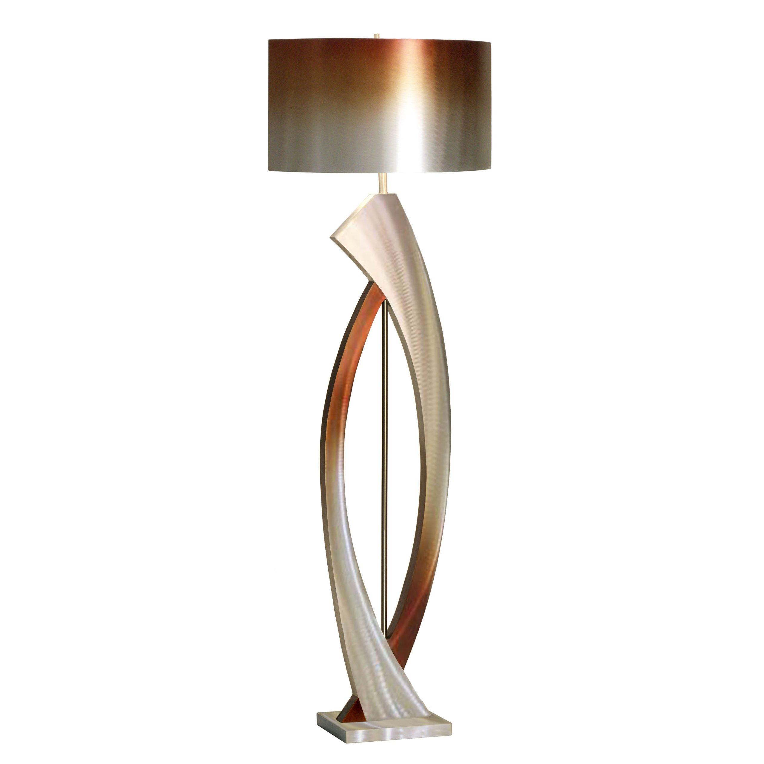 Nova Lighting JFL4810 Swerve Floor Lamp, Rust, Bronze, & Brushed Aluminum with Rust & Bronze Aluminum Shade