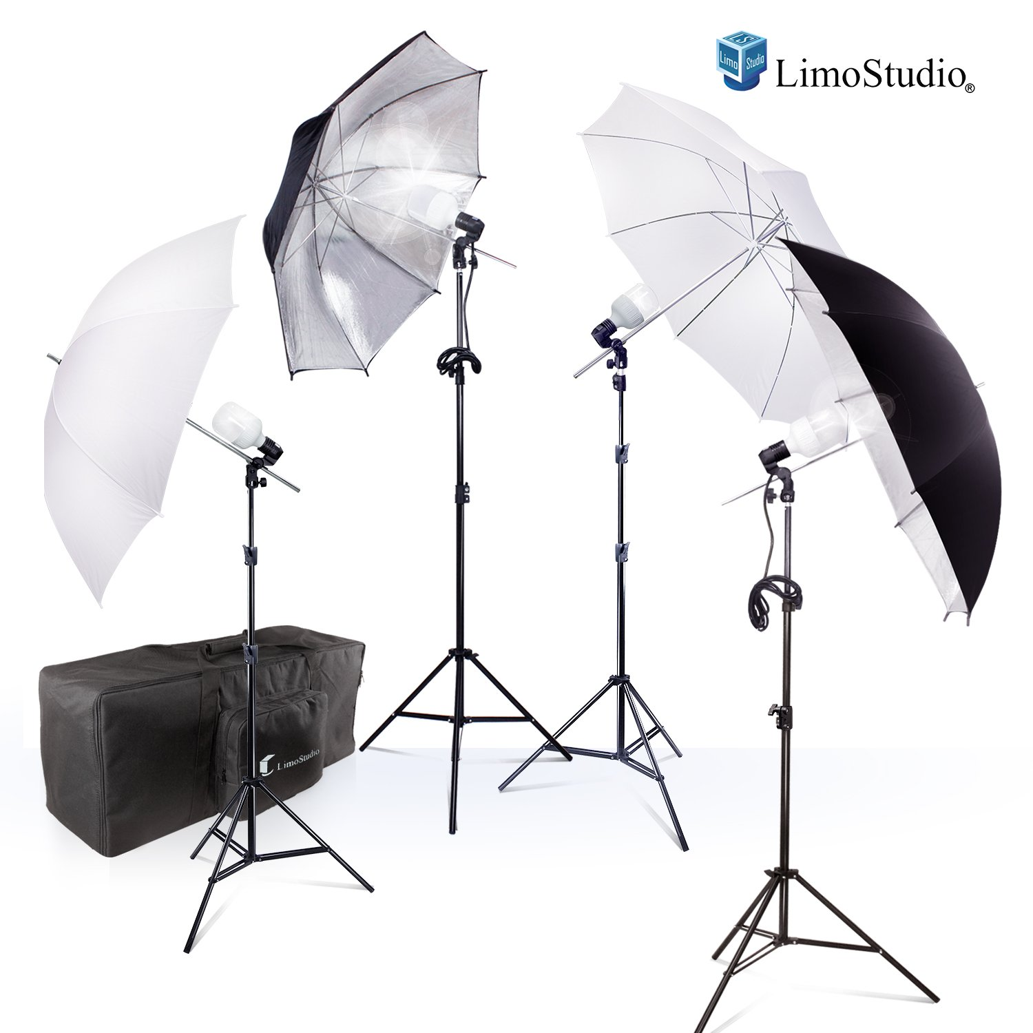 Photography Photo Portrait Studio 800W LED Bulbs Day Light Black and White Umbrella Continuous Lighting Kit by LimoStudio, AGG2754