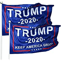 WIBIMEN 2 Packs President Donald Trump 2020 Flag Keep America Great Flag Vivid Color and UV Fade Resistant 3x5 Feet with…