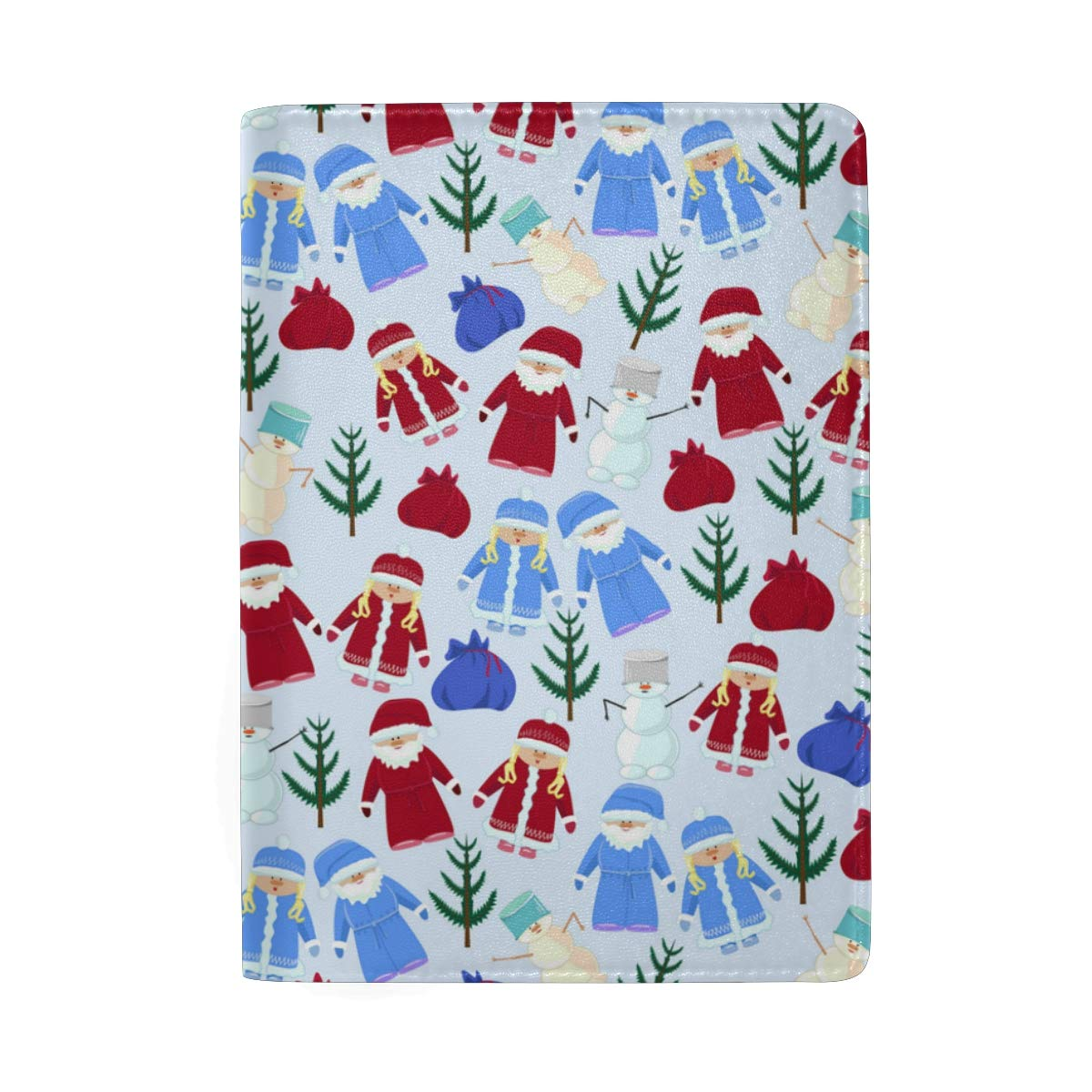 Santa Claus Christmas Ornament Leather Passport Holder Cover Case Blocking Travel Wallet