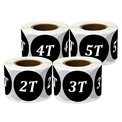 b721dcbdf3e3 1200 Labels - Toddler 2T to 4T Sticker Bundle for Toddlers 2 Year to 4  Years olds Retail Clothing Toddlers (1.25 Inch, Round, Black - 4 Rolls)