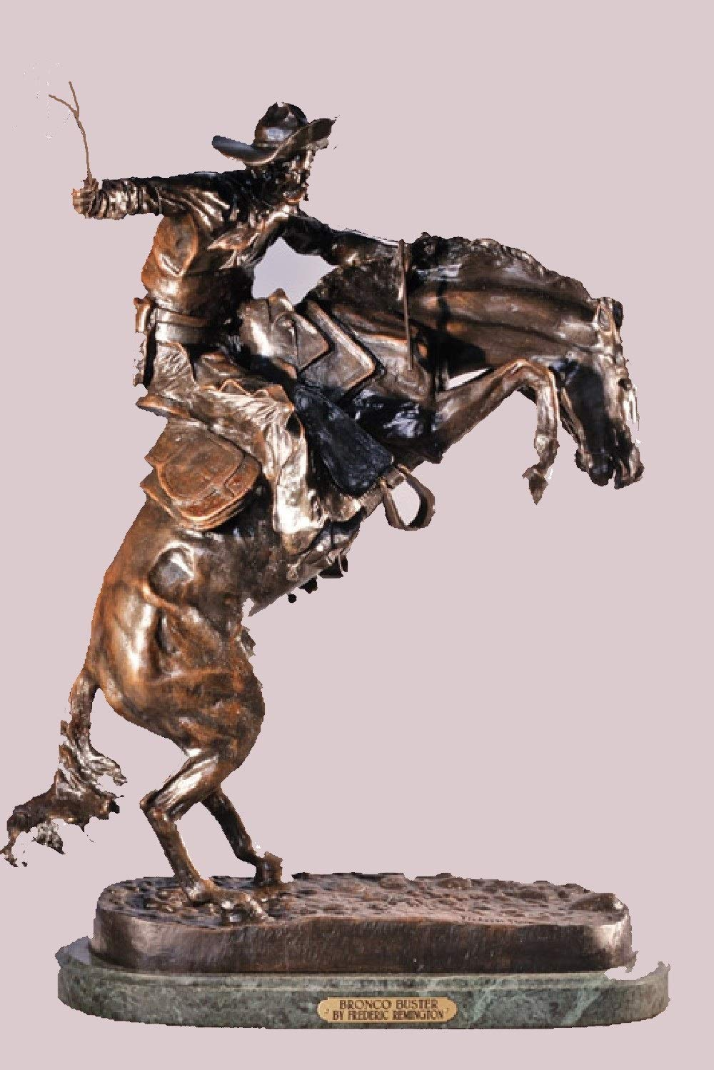 Frederic Remington Solid Bronze Bronco Buster Statue Sculpture – Baby Size