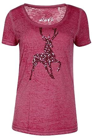 ROT, Hangowear Damen Damen Trachten T-Shirt mit Hirsch rot