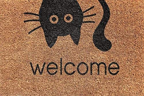 Designer Welcome Natural Coir Non Slip Doormat for Patio, Front Door, All Weather Exterior Doors 18 X 30 Inch Cat Face Large