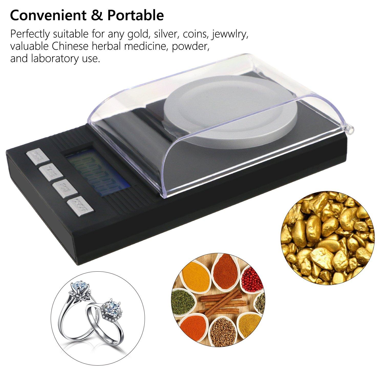 jamber Digital Milligram Scale 50 x 0,001 g para Joyería con pinzas de calibración y un peso de sartenes: Amazon.es: Hogar