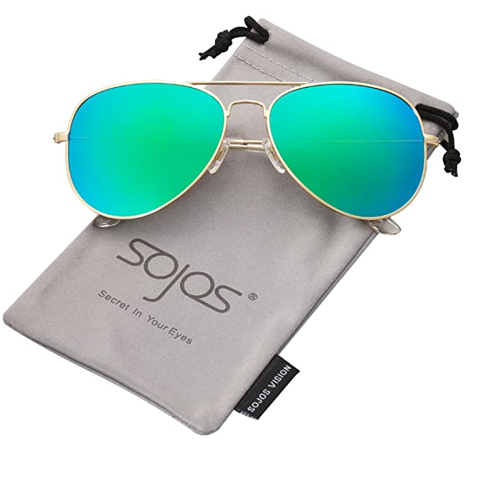 d83d4903f1 SojoS Classic Aviator Polarized Sunglasses Mirrored UV400 Lens SJ1054 with  Gold Frame Green Mirrored Lens