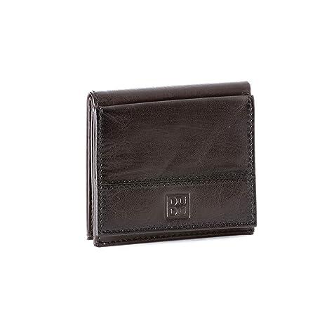501f9aabce Portafoglio uomo in pelle con portamonete esterno e porta carte di credito  DUDU Marrone scuro