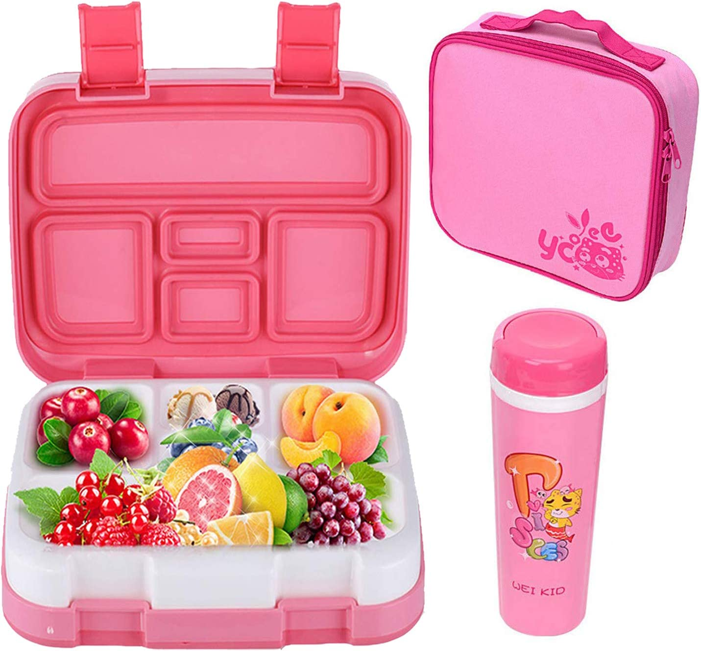 LAKIND Fiambreras Bento, Caja de Almuerzo con 5 Compartimentos Fiambrera Infantil, Bento Box para Niños, Lunchbox Fiambrera Sostenible, Apta para Microondas y Lavavajillas