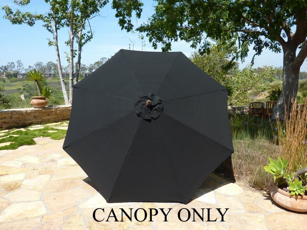 Amazon.com : Replacement Umbrella Canopy For 9ft 8 Ribs, Black Olefin ( Canopy Only) : Patio Umbrellas : Garden U0026 Outdoor