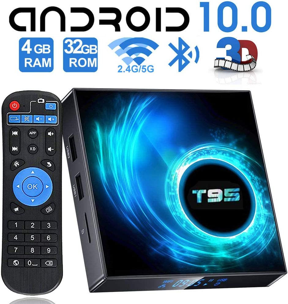 EASYTONE T95 Android TV Box with 4GB RAM 32GB ROM H616 Quad-core Chips Android 10 TV Box Support 2.4G//5G Dual-Band WiFi Bluetooth 5.0 3D//6K//H.265 Smart Box