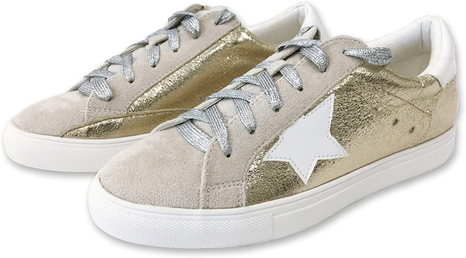Women Classic Two Tone Star Lace up Fashion Sneakers Dale