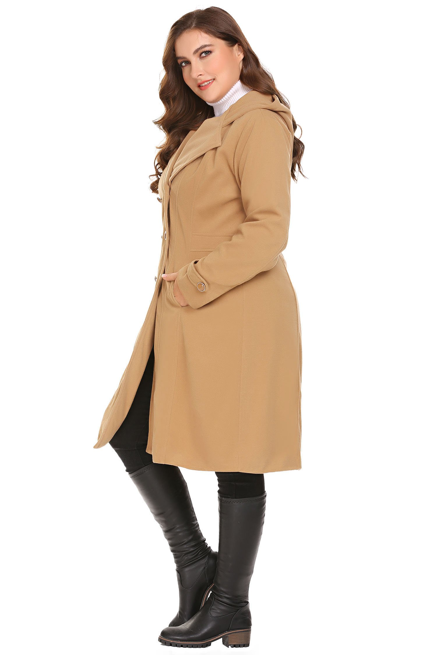 Zeagoo Women Plus Size Double Breasted Wool Elegant Long Lined Lightweight Trench Coat (16W-24W) by Zeagoo (Image #6)