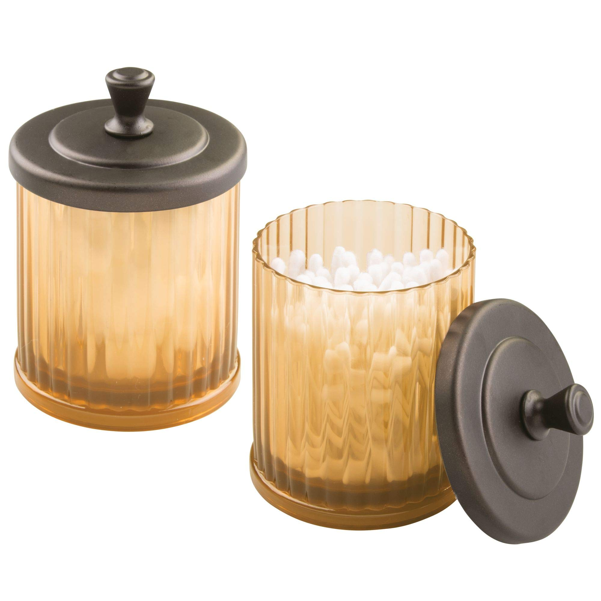 mDesign Fluted Bathroom Vanity Storage Organizer Canister Apothecary Jars for Cotton Swabs, Rounds, Balls, Makeup Sponges, Beauty Blenders, Bath Salts - Pack of 2, Amber/Brown with Bronze Finish Lid by mDesign