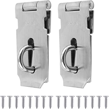 Door Hasp Padlocks Clasp Kit for Wooden Shed Door//Gate//Cabinet Security Heavy Duty 304A Stainless Steel 3inch Pack of 2