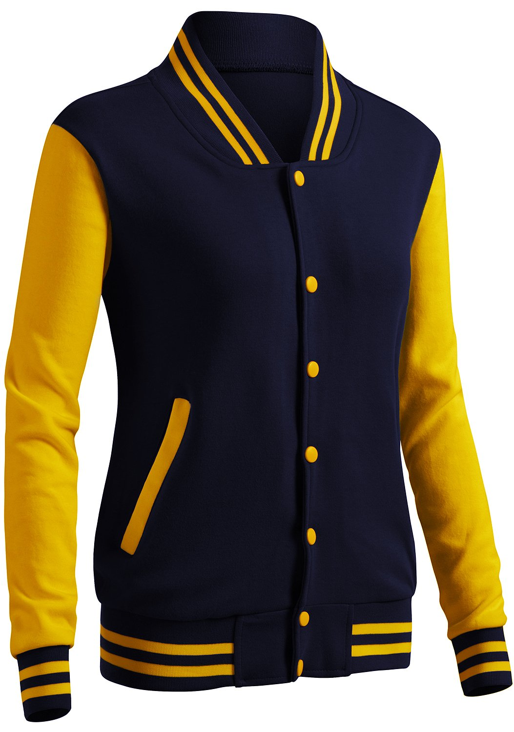 CLOVERY Women's Baseball Uniform Style Long Sleeve Jacket NAVYYELLOW XL