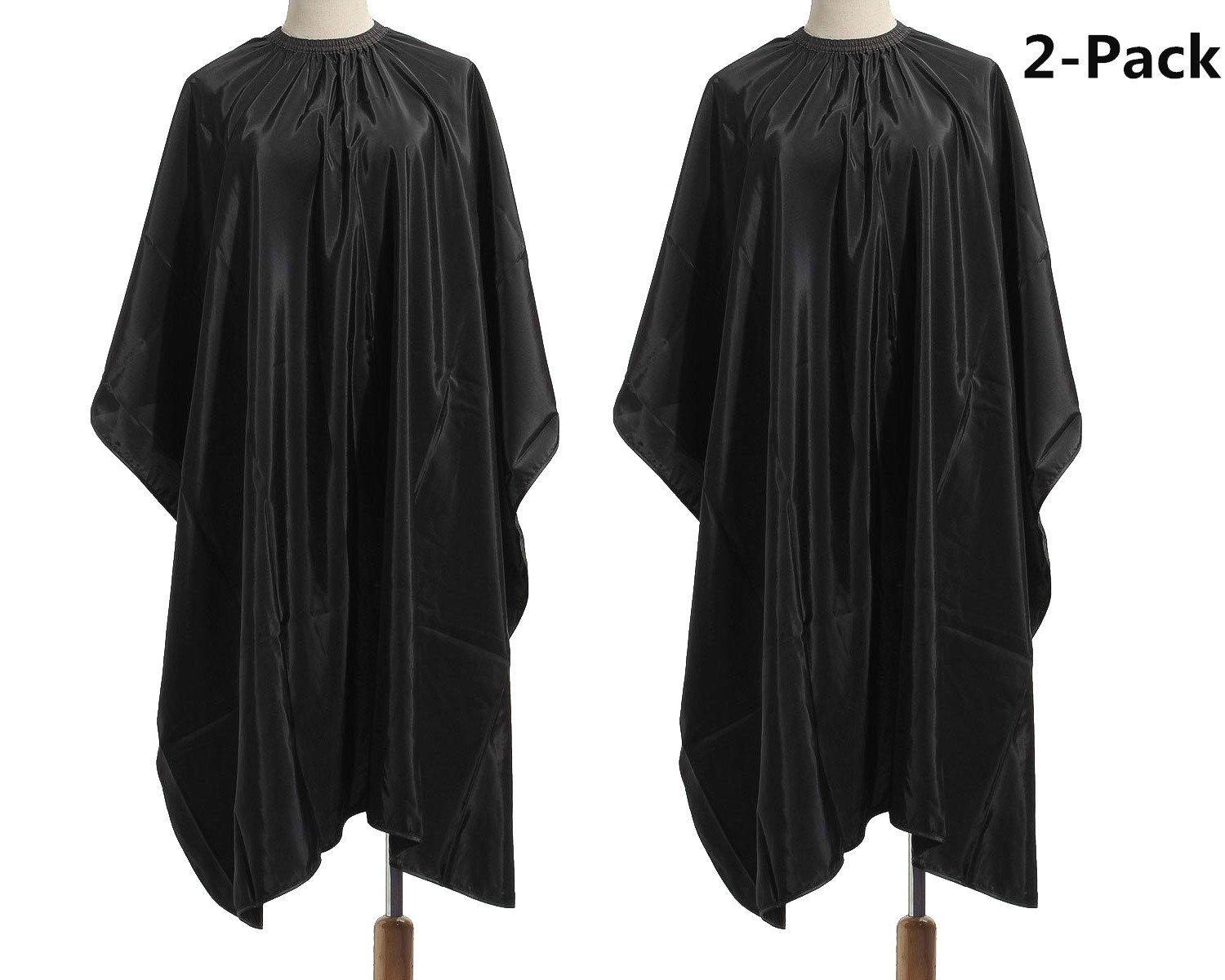 TraderPlus 2 Pack Nylon Salon Hair Cutting Cape Barber Gown Hairdressing Hairdressers Apron Black