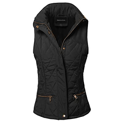 Women's Tight Fit Solid Basic Quilted Vest Side Rib Panel Details at Women's Coats Shop