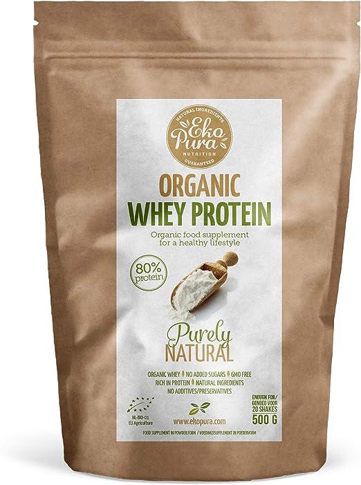 Organic Whey Protein - Purely Natural - 80% Proteína - Proteína de suero Orgánico - Sin Aditivos - Libre de GMO - Sin Soja - 500g