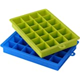 Dxg 24 Cube Soft Silicone Ice Cube Tray Ice Molds Candy Mold Cake Mold Chocolate Mold, Set of 2 (Blue, Green)