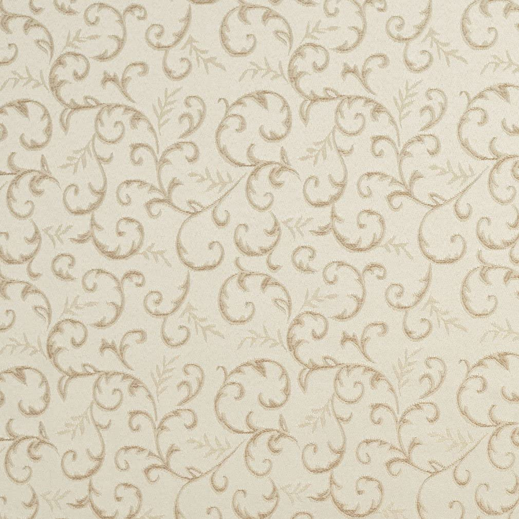 E642 Abstract Floral Ivory Silver Damask Upholstery Fabric By The Yard
