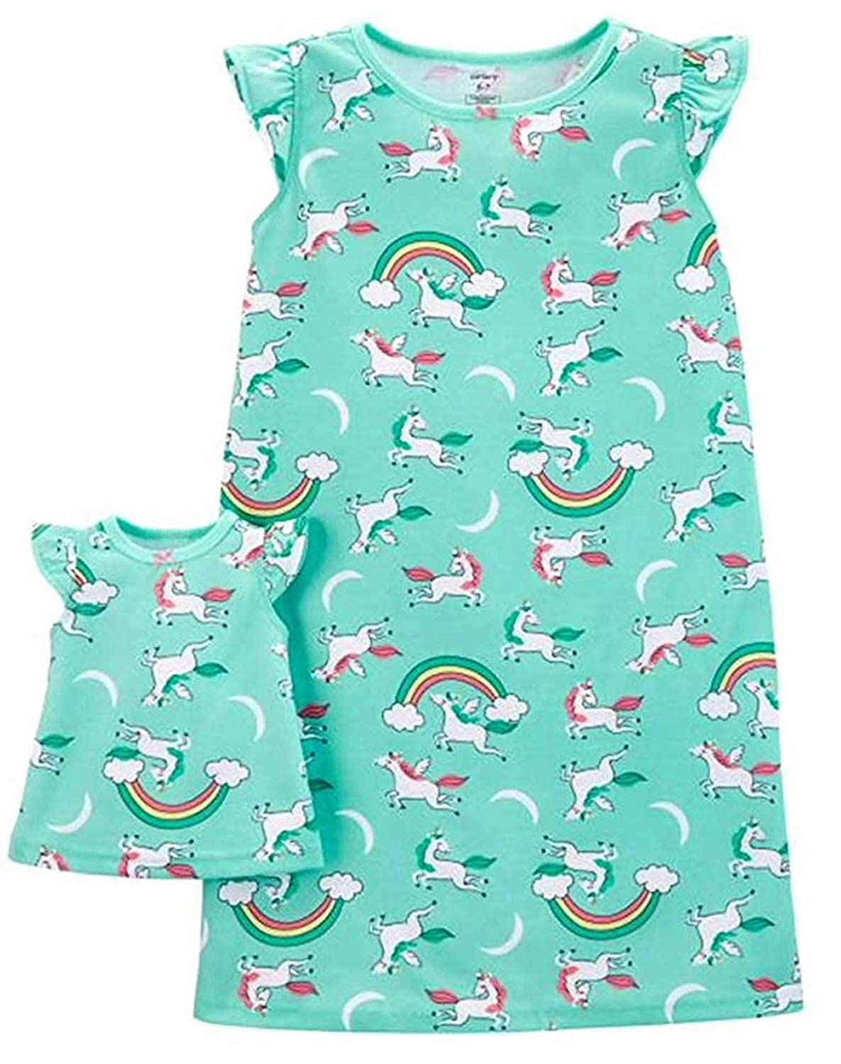 Toddler Girls Mint Green Unicorn Nightgown with Doll Gown
