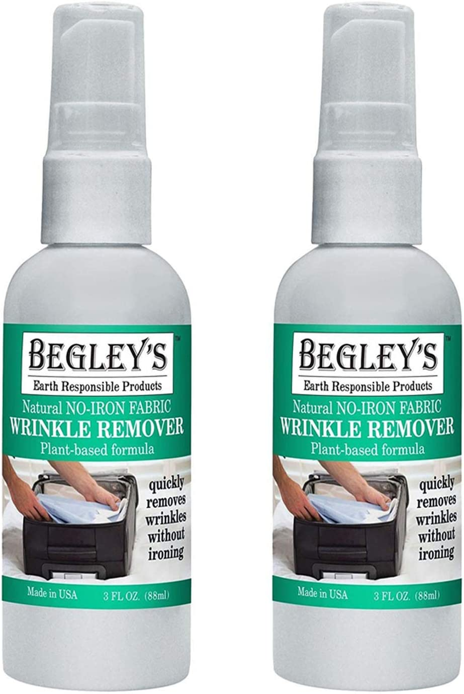 Begley's Best Natural No-Iron Wrinkle Remover, Quick Fix Wrinkle Release, Static Cling Remover, Fabric Freshener - Plant-Based Formula, USDA Certified Biobased - Refreshing Citrus, 3 oz Travel Size