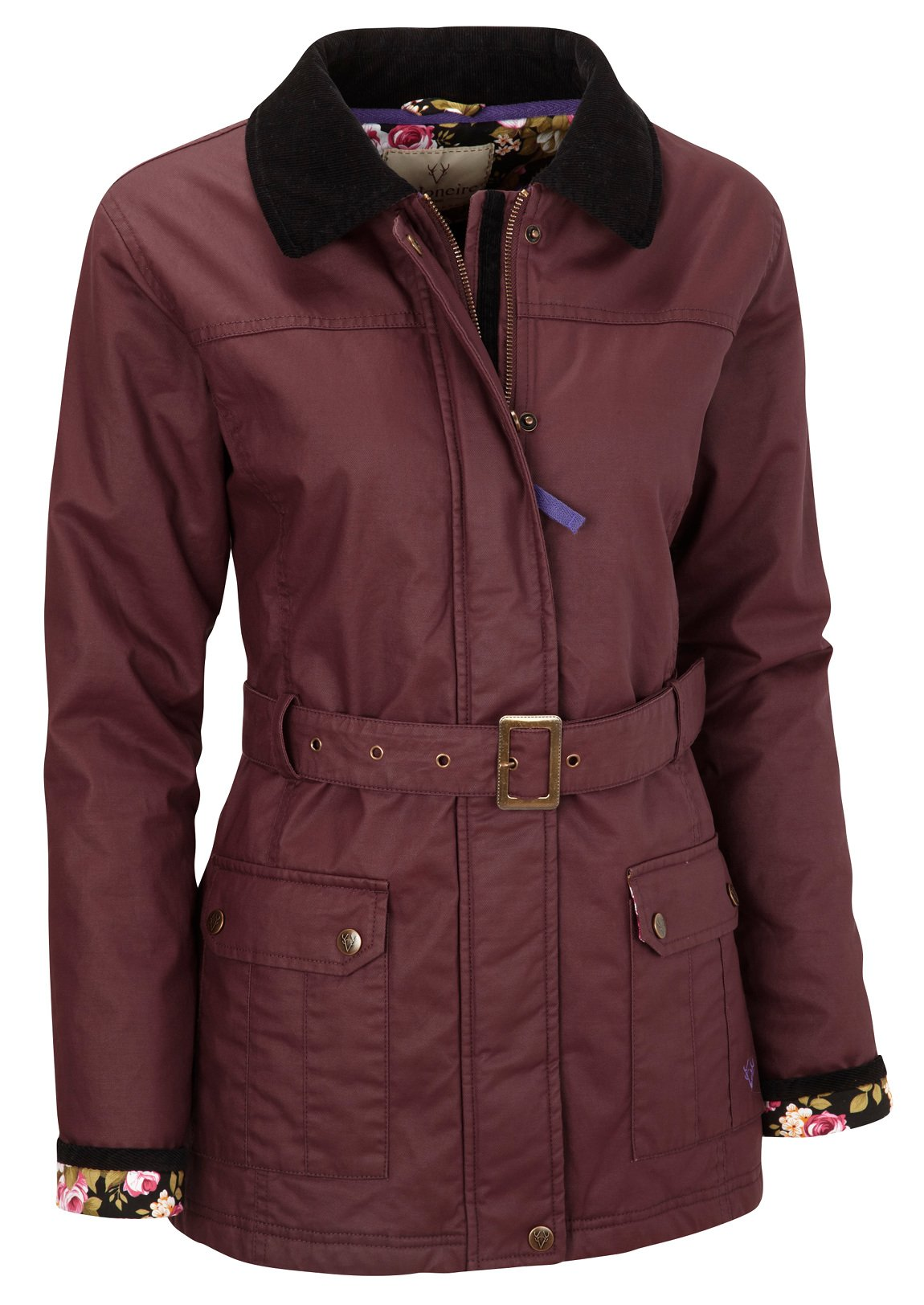 VEDONEIRE Womens Wax Jacket (5050) Burgundy red maroon motorcycle style belt (M (up to 36 inch chest)) by Vedoneire