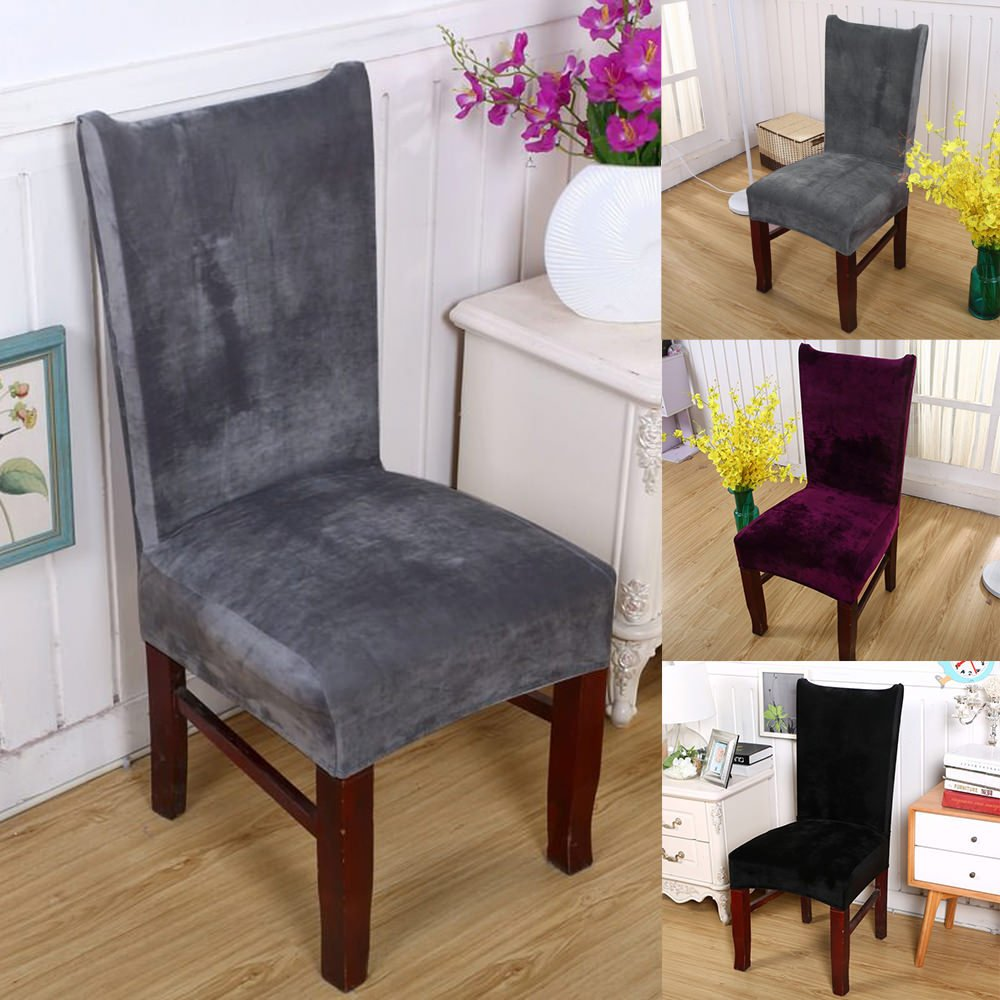 Universal Stretch Fox Pile Fabric Chair Covers LAPOPNUT Removable Washable Ceremony Hotel Dining Room Kitchen Bar Dining Seat Cover Restaurant Wedding Part Decor (Grey) AILIBAO 1Pcs