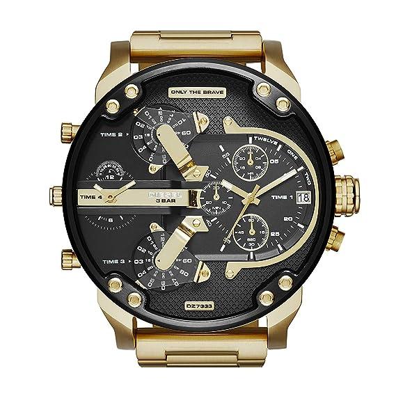 Reloj Diesel analógico de cuarzo para hombre, de acero inoxidable dorado