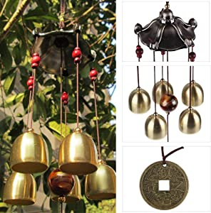Chinese Metal Bell Lucky Feng Shui Hanging Charm Wind Chime Ornament (Buddha Coin)