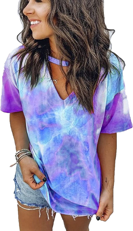 DOSWODE Womens Tie Dye Shirt Short Sleeve Blouses Printed V Neck Tops for Women at  Women's Clothing store