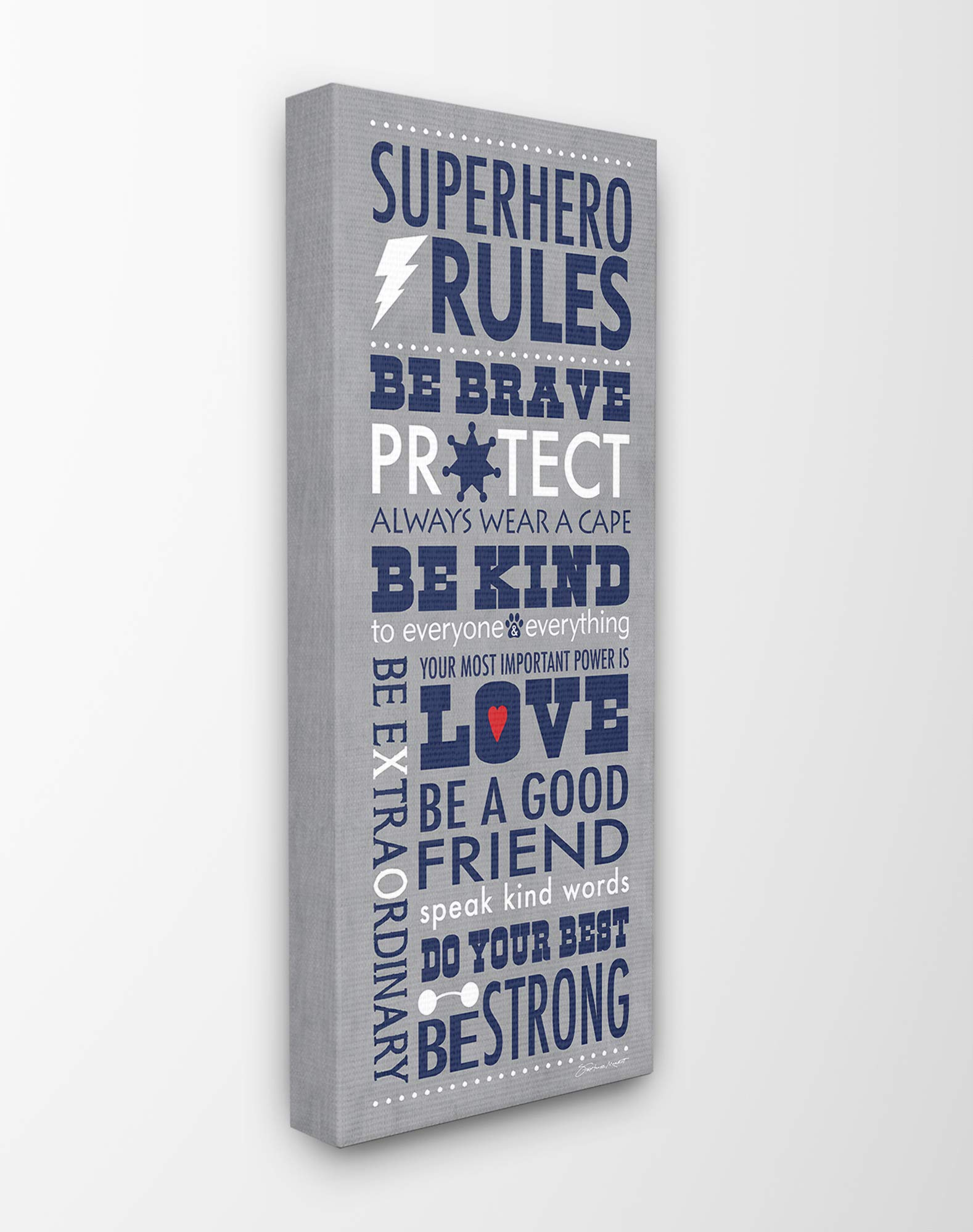 The Kids Room By Stupell Grey and Navy Superhero Rules Typography Canvas Wall Art, 10 x 24, Proudly Made in USA, Multicolor by The Kids Room by Stupell
