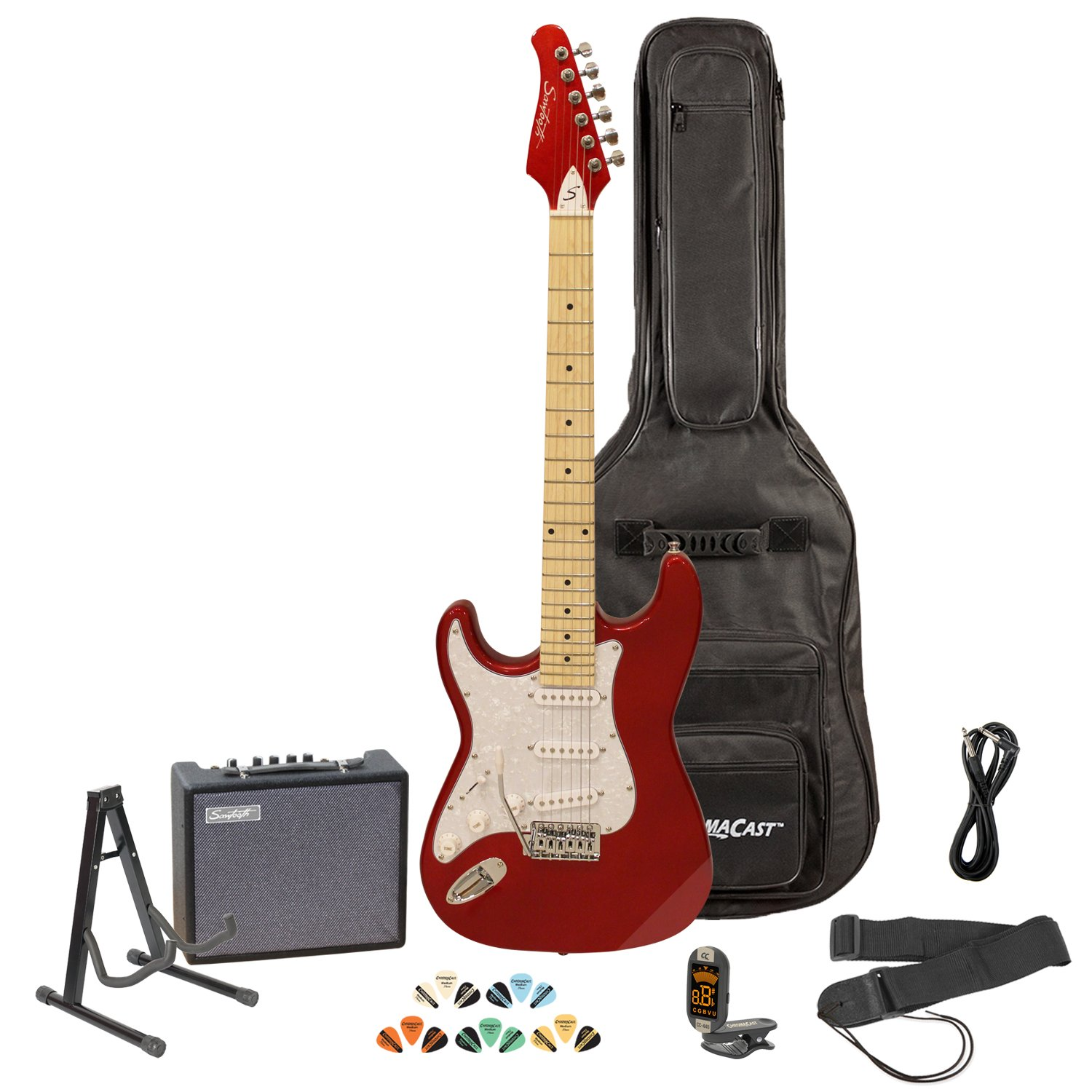 Sawtooth ST-ES-LH-CARP-KIT-3 Left Handed Electric Guitar in Candy Apple Red with White Pickguard, Lesson, Gig Bag, Stand, Cable, Picks, Tuner, Strap, Amplifier by Sawtooth