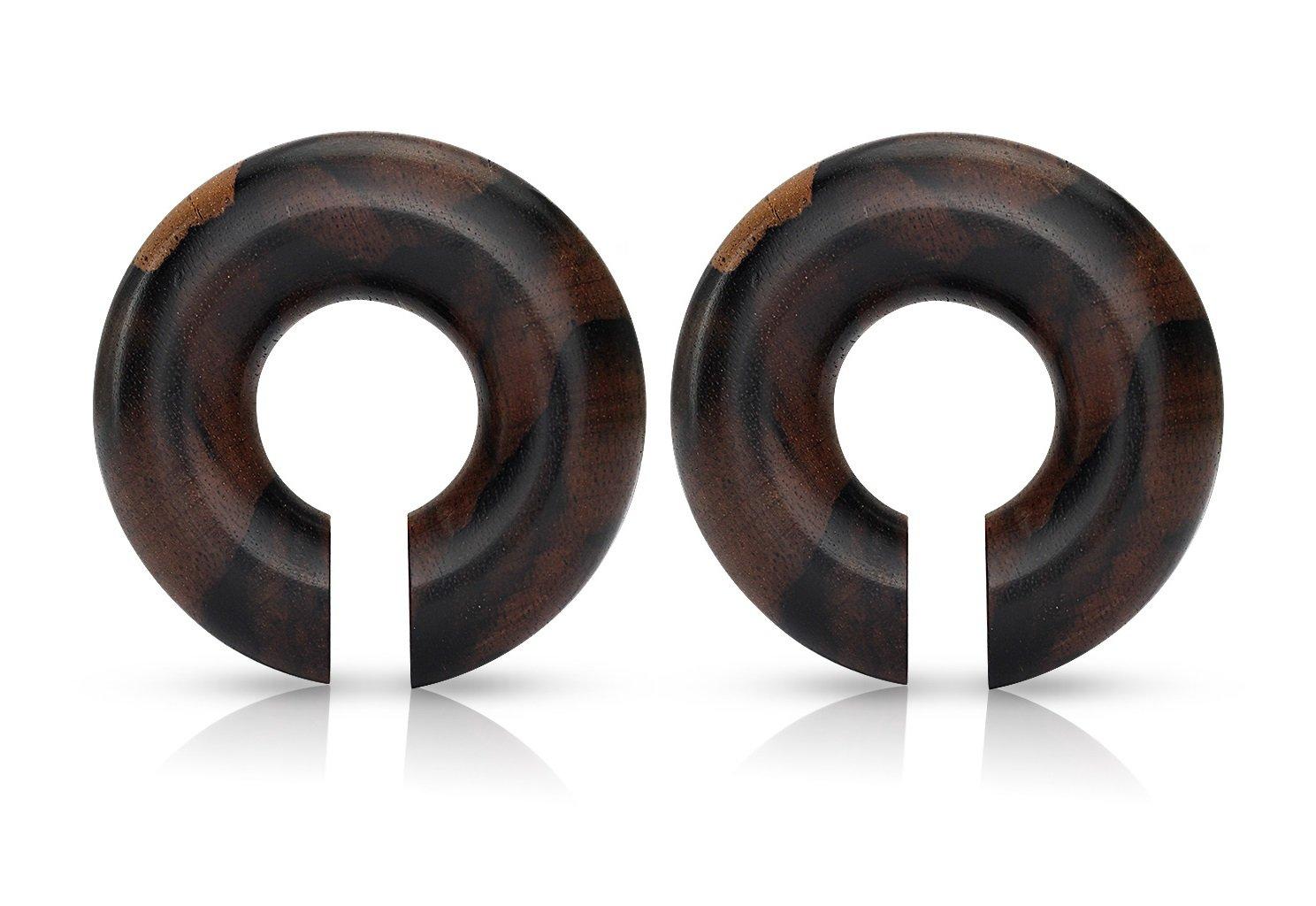 Pierced Owl Organic Areng Wood Round Plug Earrings Sold as a Pair (10mm (00GA)) by Pierced Owl