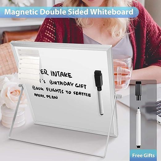 CUHAWUDBA 25,4 x 25,4 cm lavagna magnetica bianca per bambini su entrambi i lati piccola lavagna cancellabile a secco con supporto
