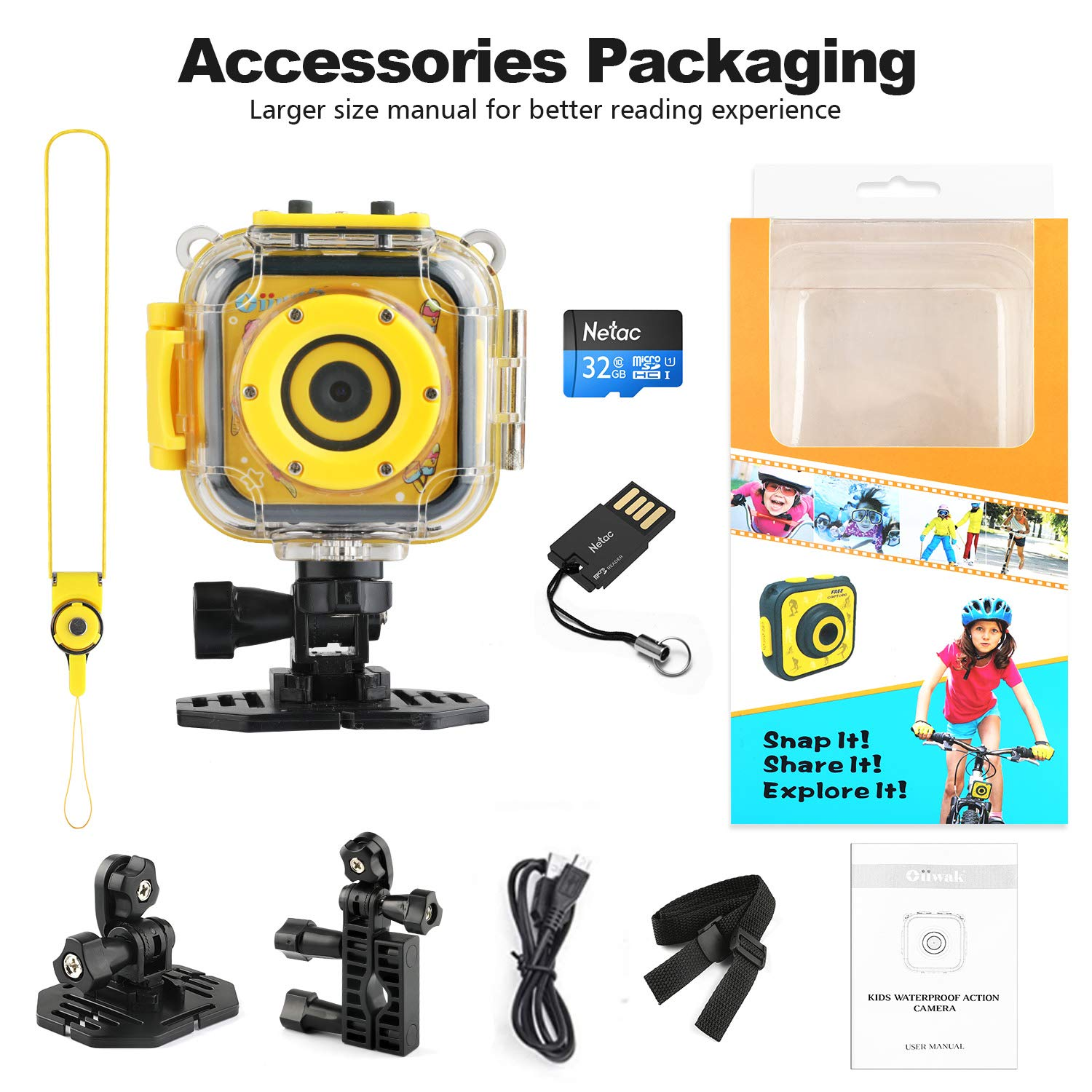 Kids Camera, Oiiwak Kids Video Camera Waterproof Toys for 3-10 Year Old Girls, 5.0 MP HD Digital Mini Camcorder for Children with 32GB Memory Card by Oiiwak (Image #8)