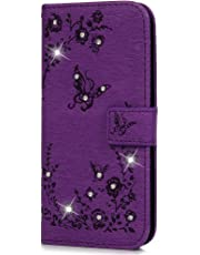 Samsung Galaxy J6 Case, Bling Clear Crystal Diamond PU Leather Flip Notebook Wallet Case Embossed Buterfly Floral with Kickstand Card Holder Slot Protective Skin Cover for Samsung Galaxy J6 Purple