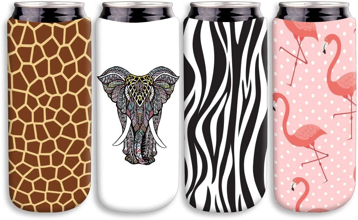 12oz Slim Can Cooler Sleeve,Fits for Michelob Ultra, Red Bull, White Claw- Neoprene Collapsible Slim 12oz Can Cooler (4, Animals)-Animals,Elephant, Flamingo, Deer, Zebra