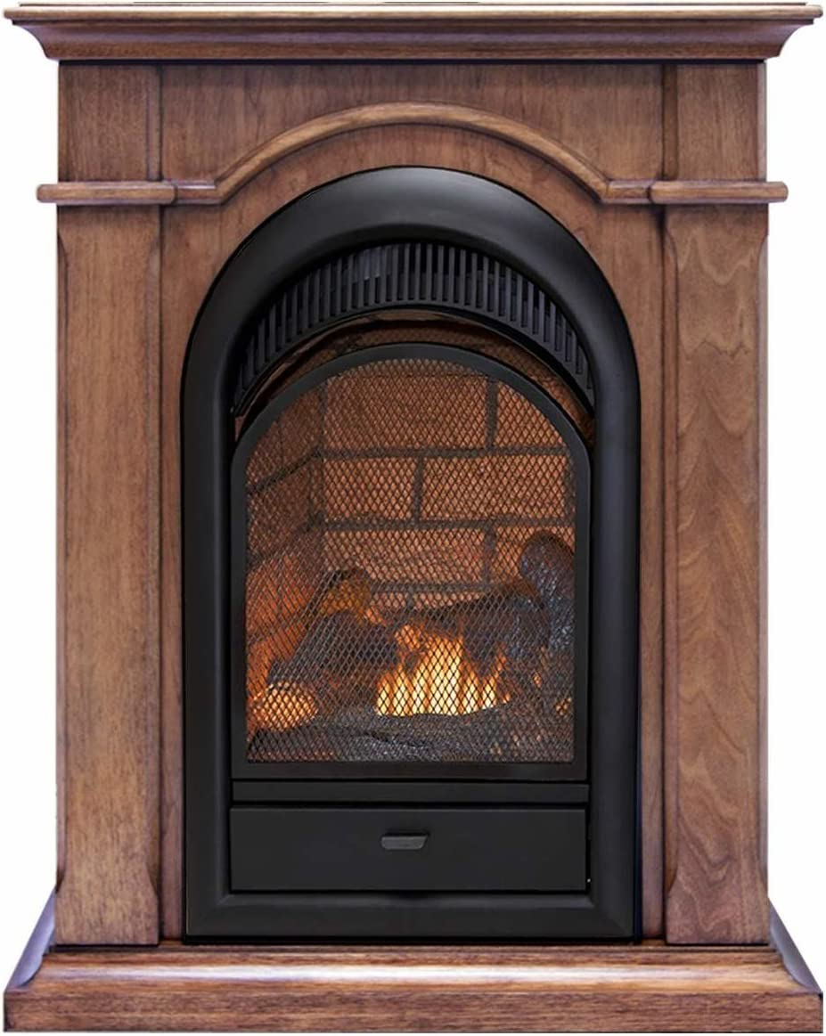 Duluth Forge Dual Fuel Ventless Fireplace Insert Mantel-15,000 BTU, T-Stat, Toasted Almond Finish