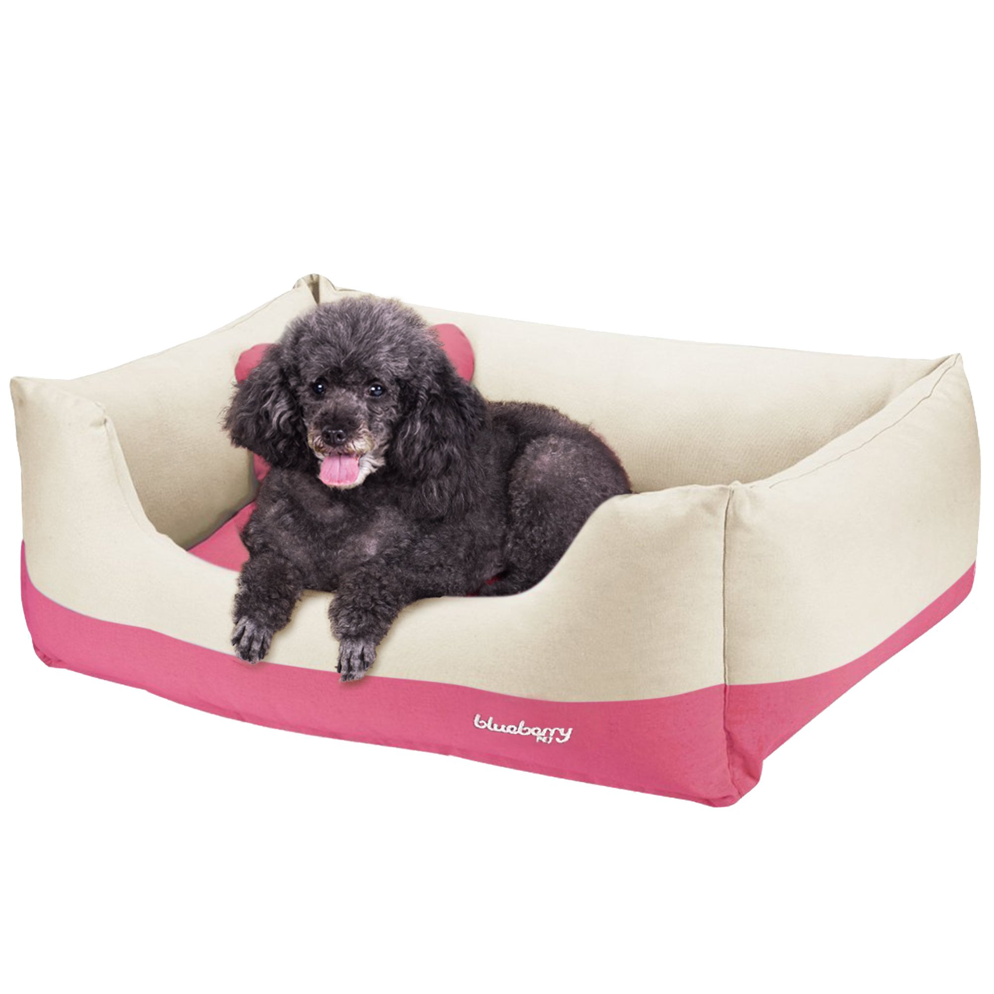 Blueberry Pet Heavy Duty Cotton Linen Blended Canvas Overstuffed Cuddler Bolster Lounge Dog Bed, Removable & Washable Cover w/YKK Zippers, 34'' x 24'' x 12'', 11 Lbs, Baby Pink & Beige Color-block