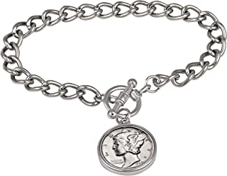product image for Silver Mercury Dime Silvertone Coin Toggle Bracelet