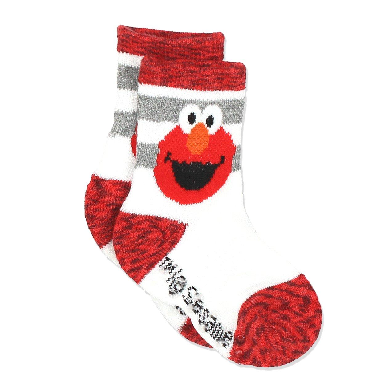 Sesame Street Elmo Boys Girls Multi Pack Crew Socks with Grippers Baby//Toddler