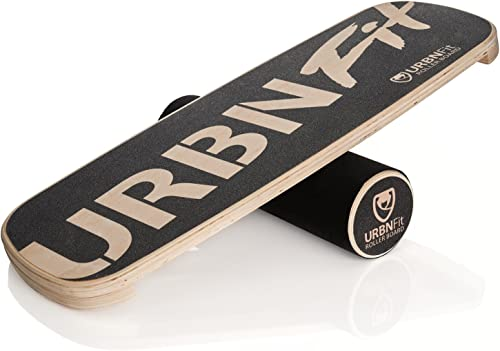 URBNFit Wooden Balance Board Trainer – Roller Board for Snowboard, Surf, Hockey Training More -Balancing Exercise Fitness Equipment